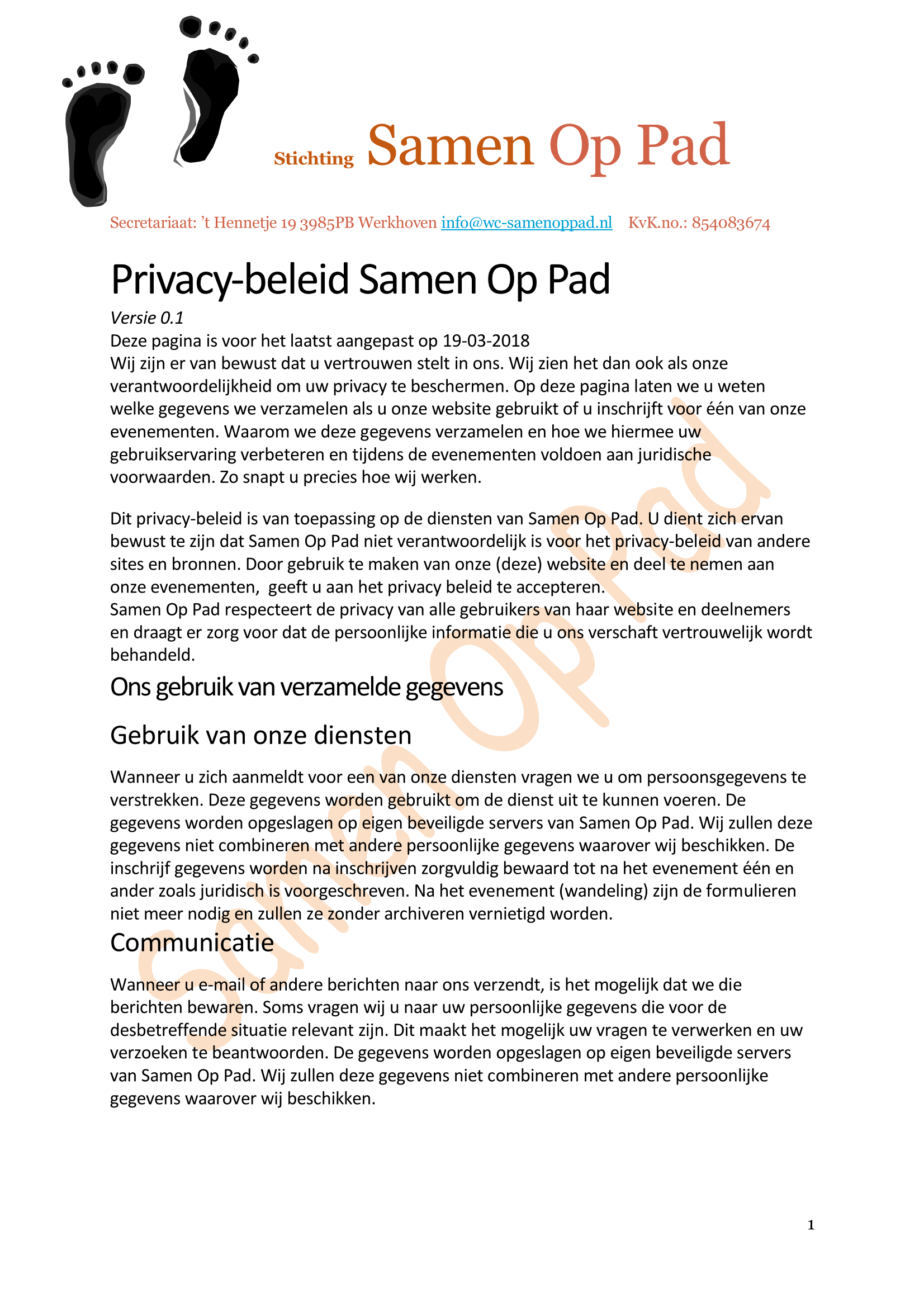 Privacy verklaring Page 1